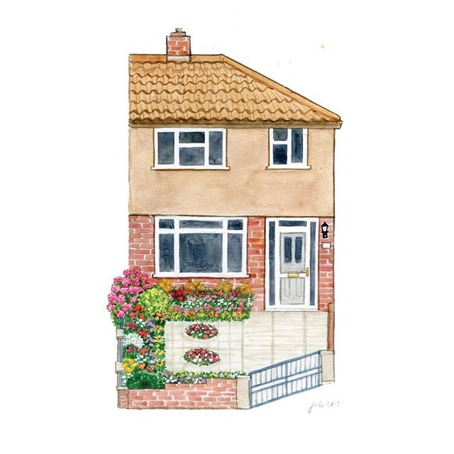 I get asked if I can paint duplexes and other shared buildings all the time, and the answer is yes! This pretty from England had the most charming little garden 😍