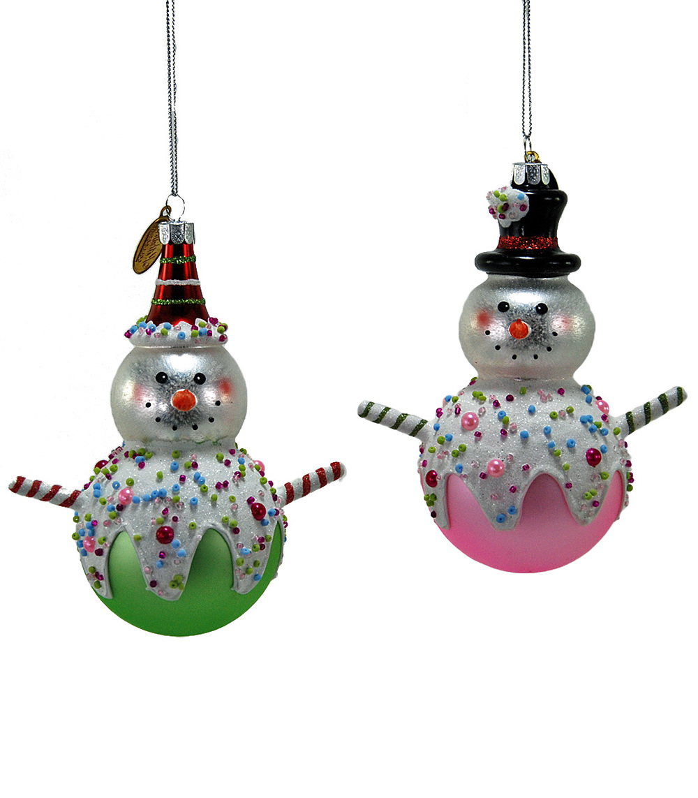 Candy Snowman Ornament - Assortment Of 2  22-524717
