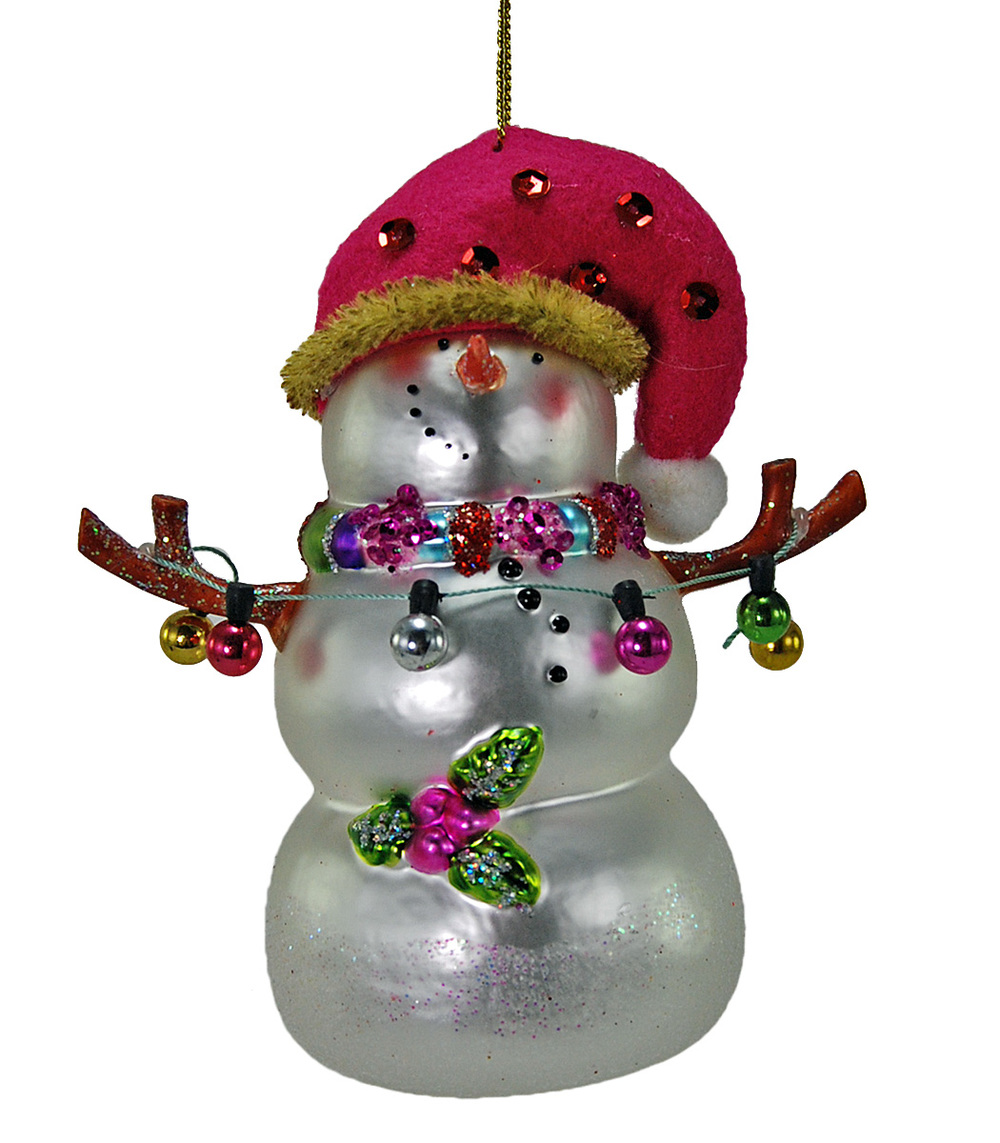 Pinky Glass Snowman Ornament  22-524721