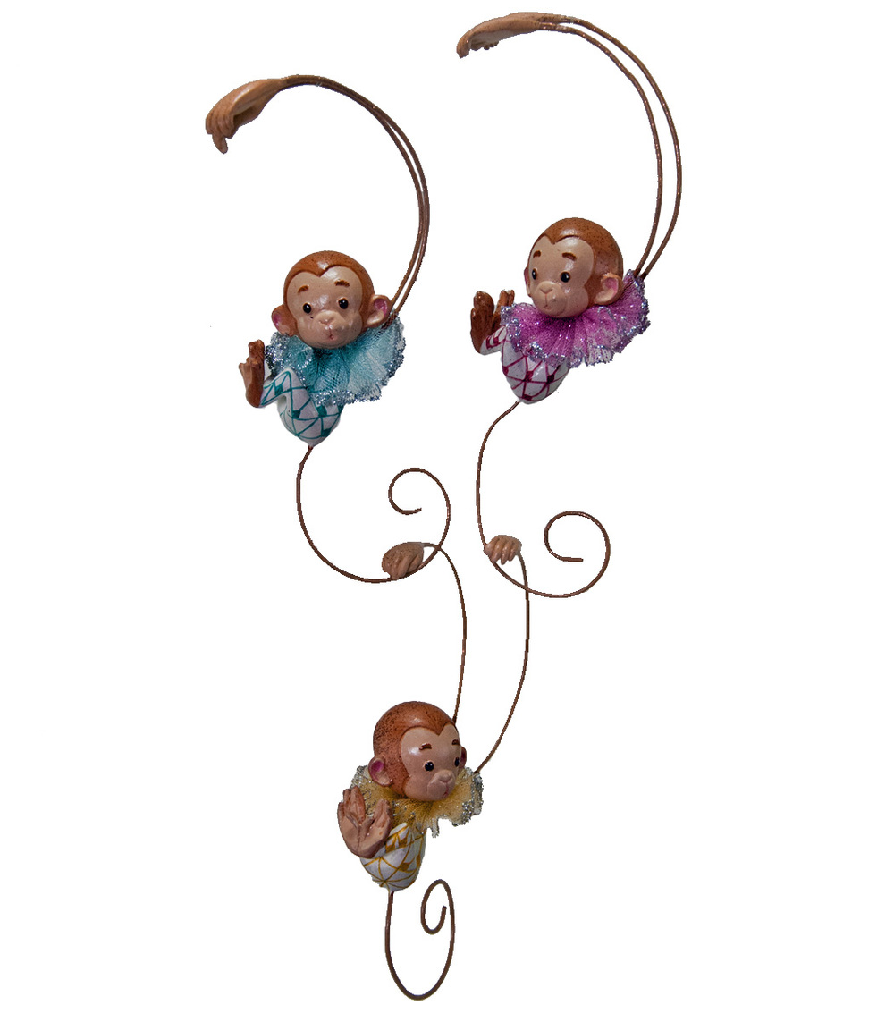 Monkey Link Ornament - Assortment Of 3  28-530551