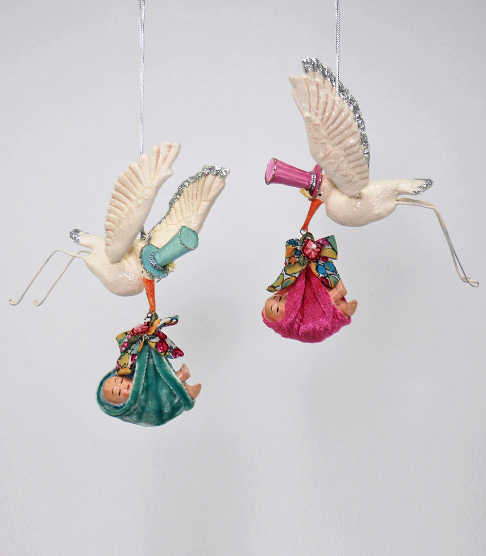 Flying Stork Ornament - Assortment Of 2  28-530552