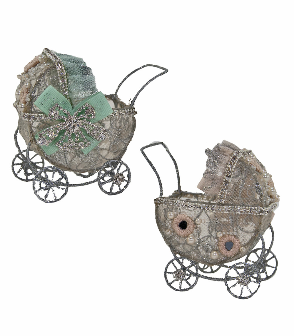 Wired Baby Buggy Tabletop - Assortment Of 2  08-580445