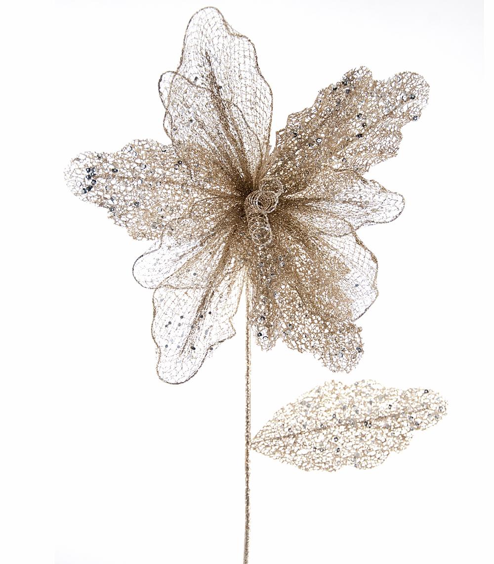 Mesh Glitter Flower Stem-Large  08-684038
