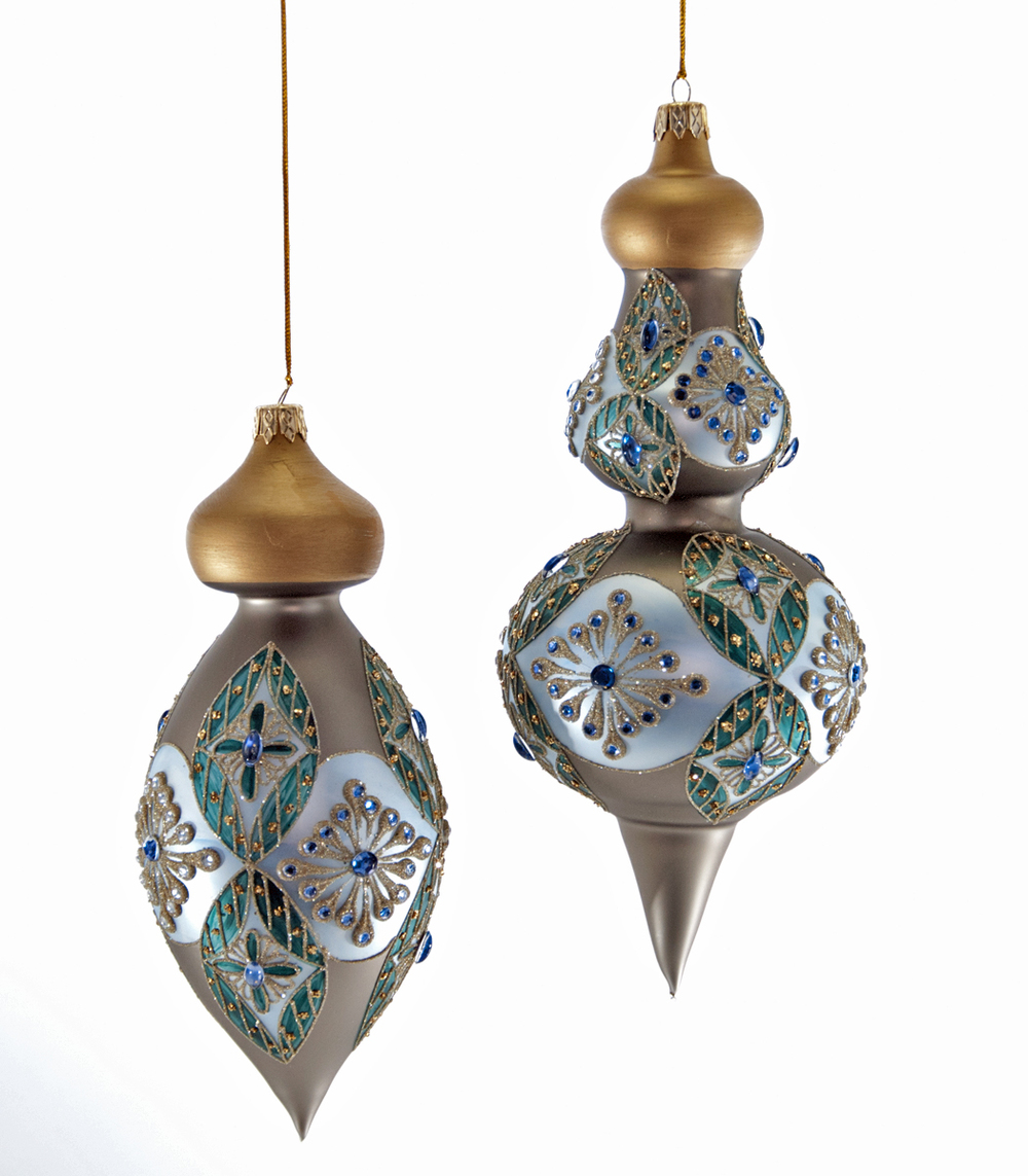 Celestial Tri Colored Ornament Assortment Of 2  02-631019