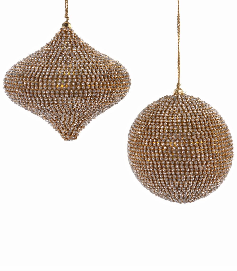 Gilded Rhinestone Ornament Assortment Of 2  02-632006