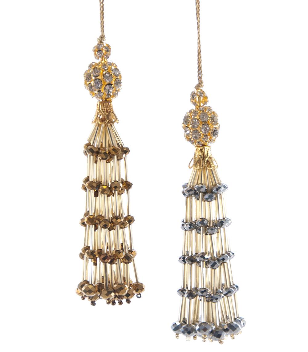 Faceted Bead Tassel Ornament Assortment Of 2  02-632023