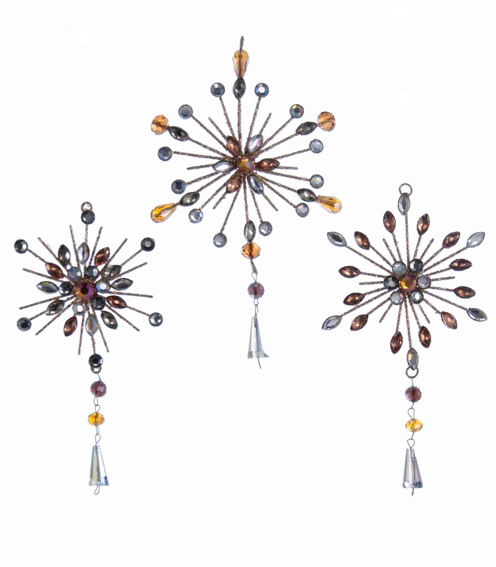 Jewel Star Burst Ornament-Small Assortment Of 3  08-683039