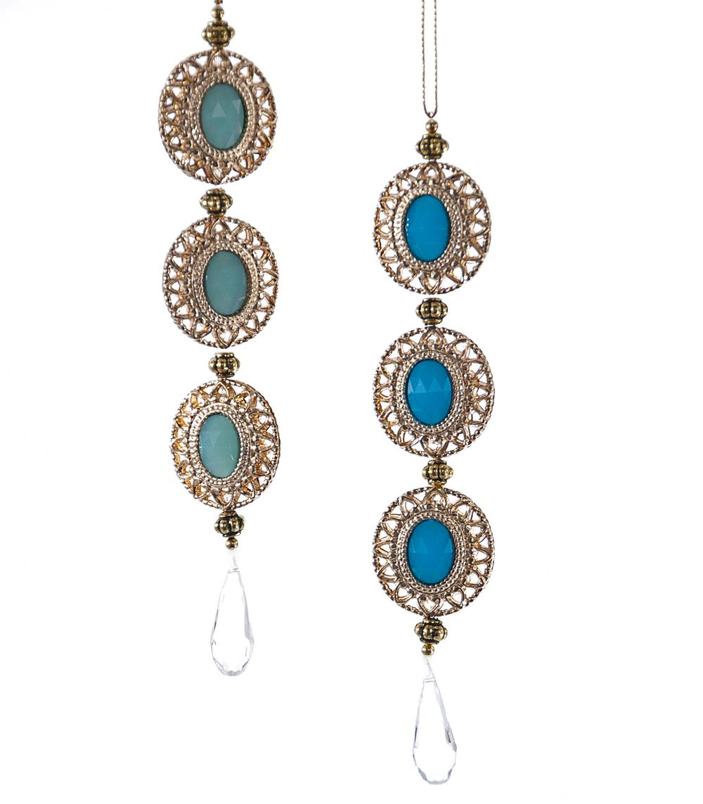 Celestial Turquoise Drop Ornament Assortment Of 2  09-692005
