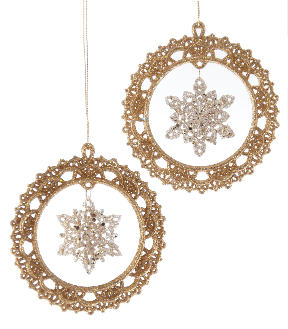Floating Snowflake Ornament Assortment Of 2  09-693010