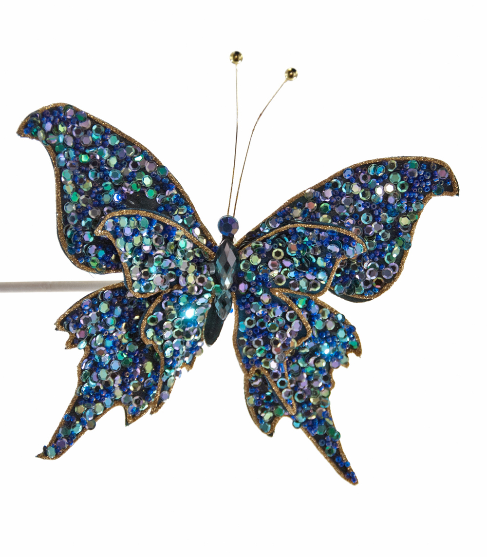 Encrusted Butterfly Clip-Blue  10-651014