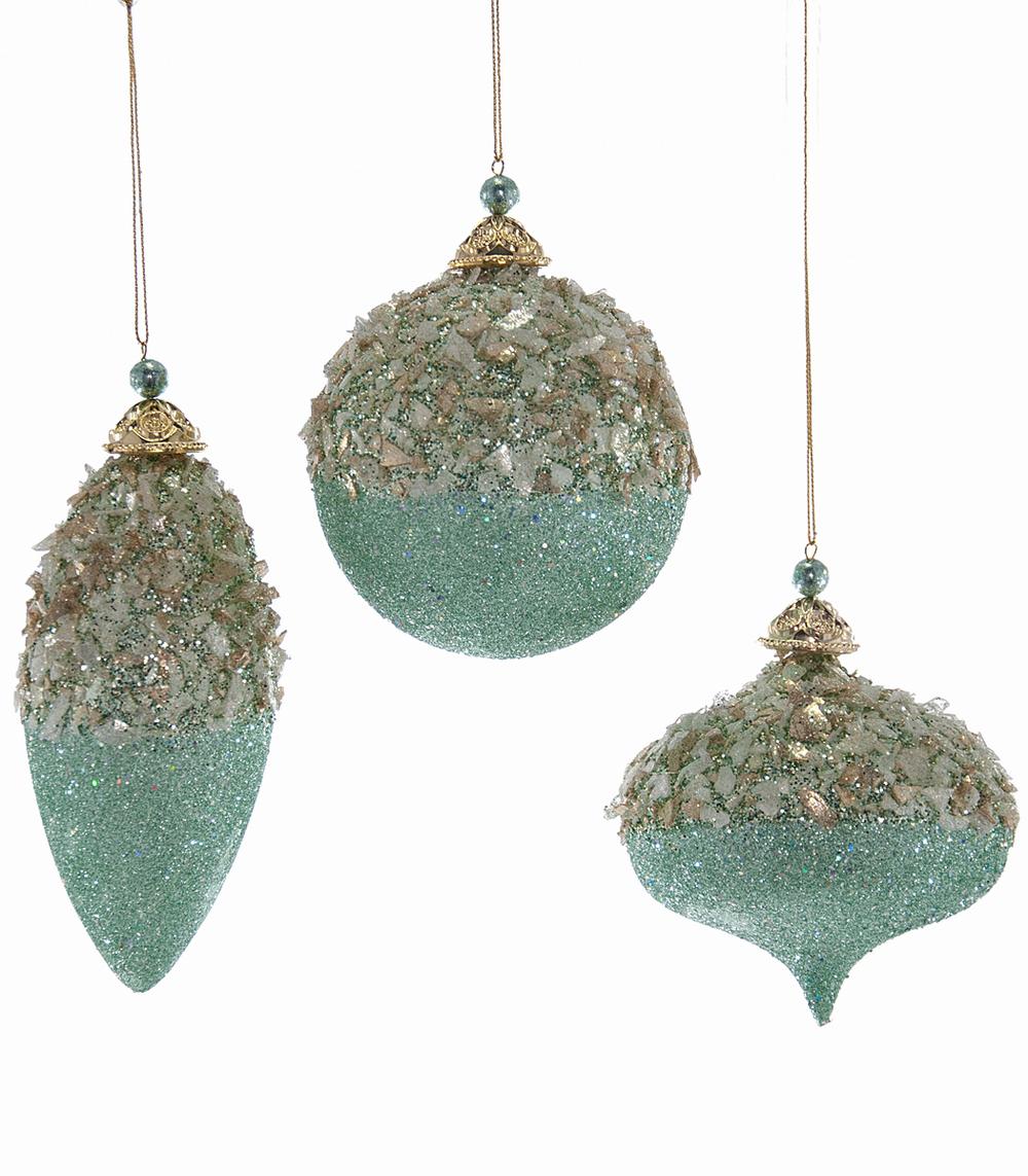 Celestial Glittered Ornament Assortment Of 3  09-694004