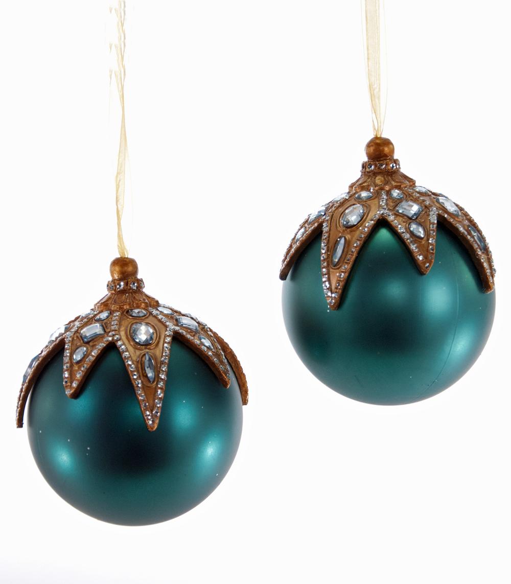 Lt Teal Jewel Top Ornament Assortment Of 2  10-652041