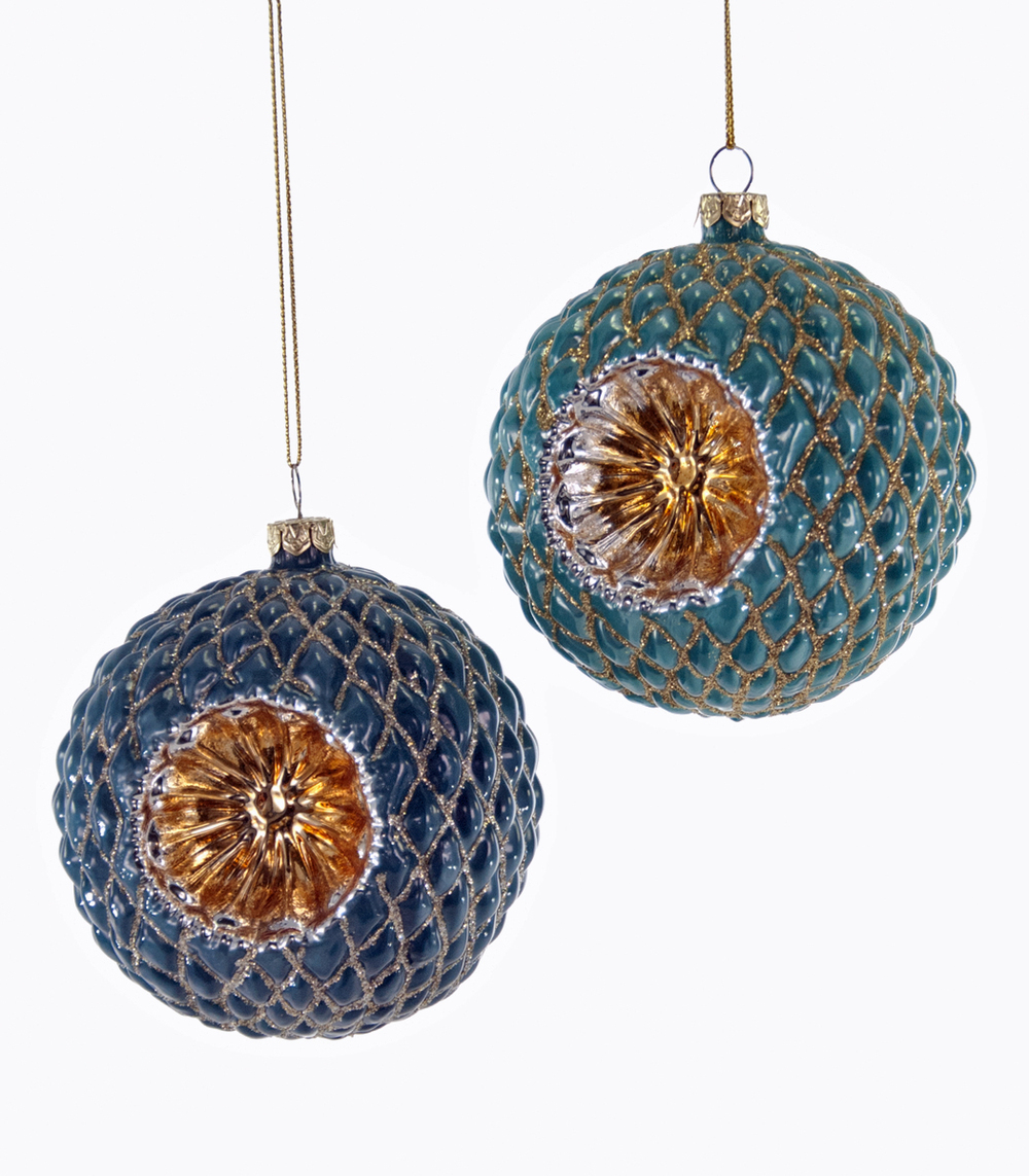 Quilted Reflector Ornament Assortment Of 2  18-649023