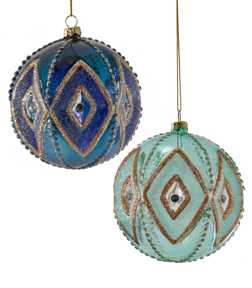 Sculpted Diamond Ornament Assortment Of 2  18-649024