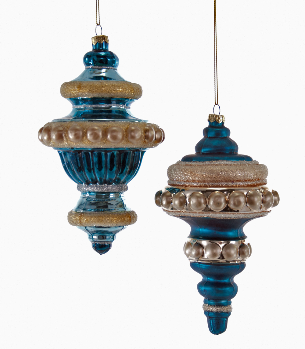 Large Sculpted Finial Ornament Assortment Of 2  18-649026