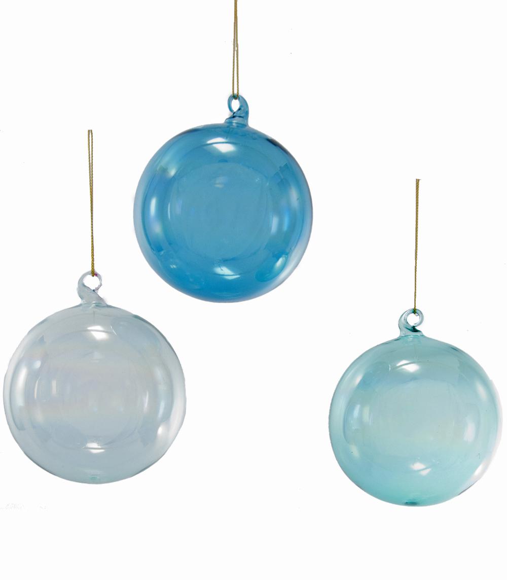 Glass Iridescent Blue Ornament Assortment Of 3  18-649029