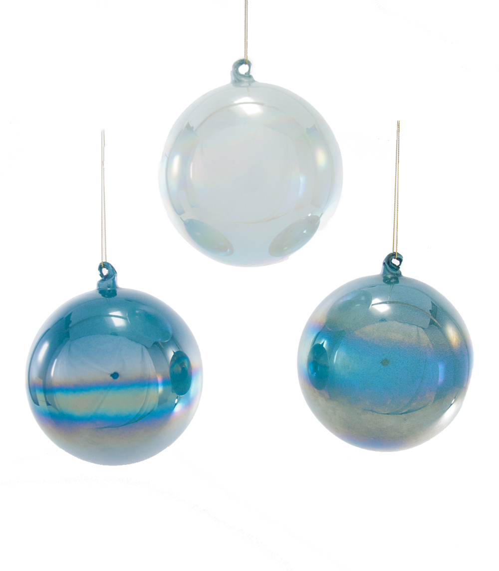 Glass Pearlized Blue Ornament Assortment Of 3  18-649030