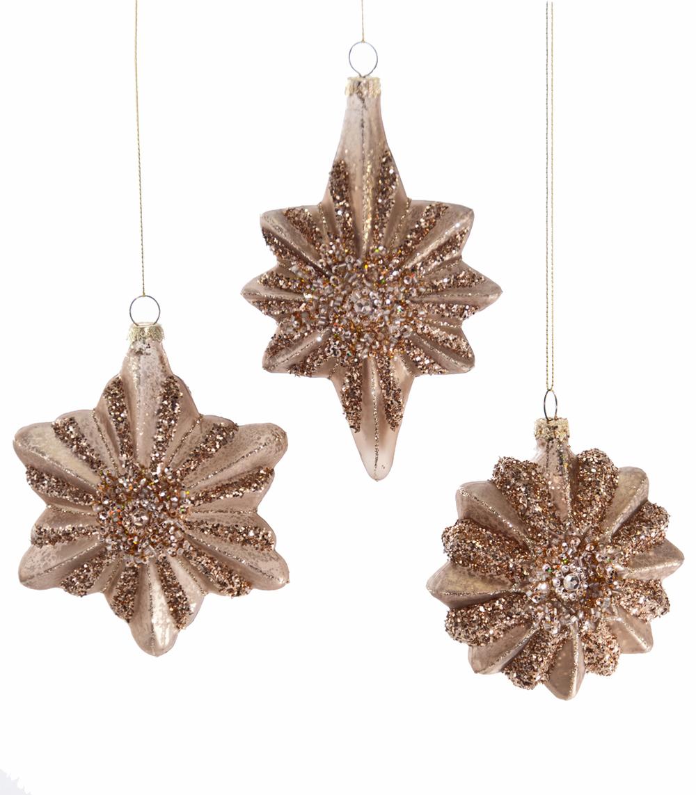 Pleated Star Glass Ornament Assortment Of 3  22-622024