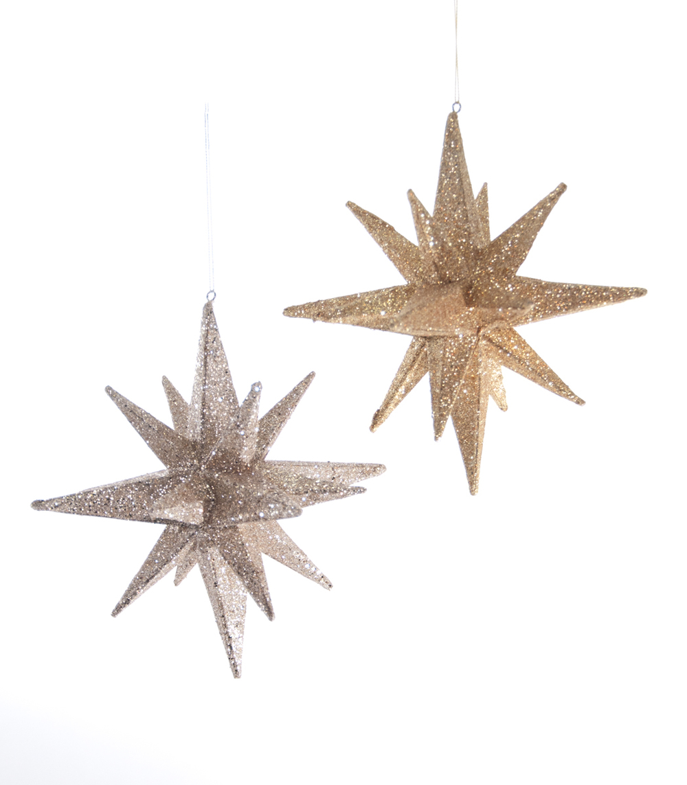 Glitter Pointed Star Ornament Assortment Of 2  22-622026