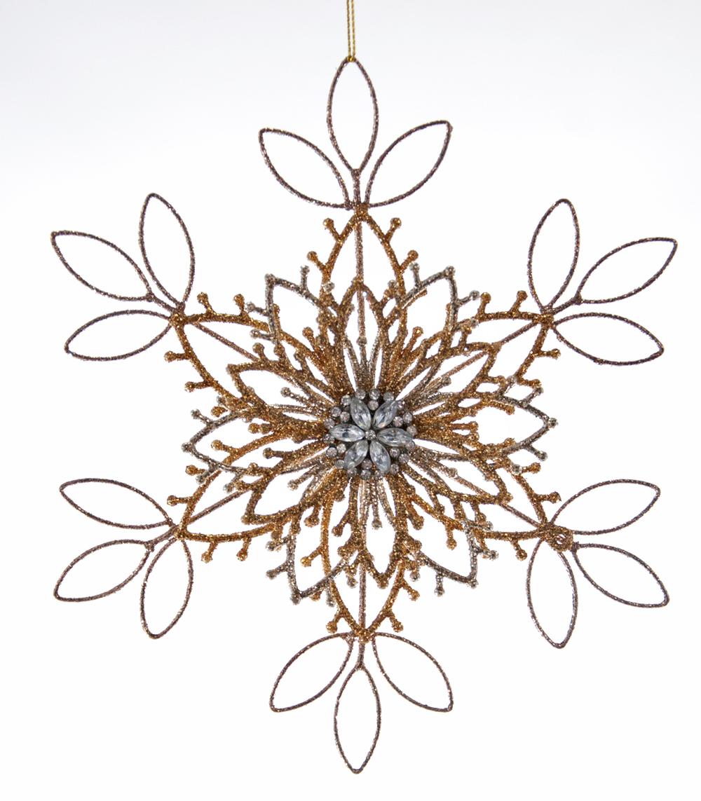 Glittered Wire Snowflake Ornament  22-622100