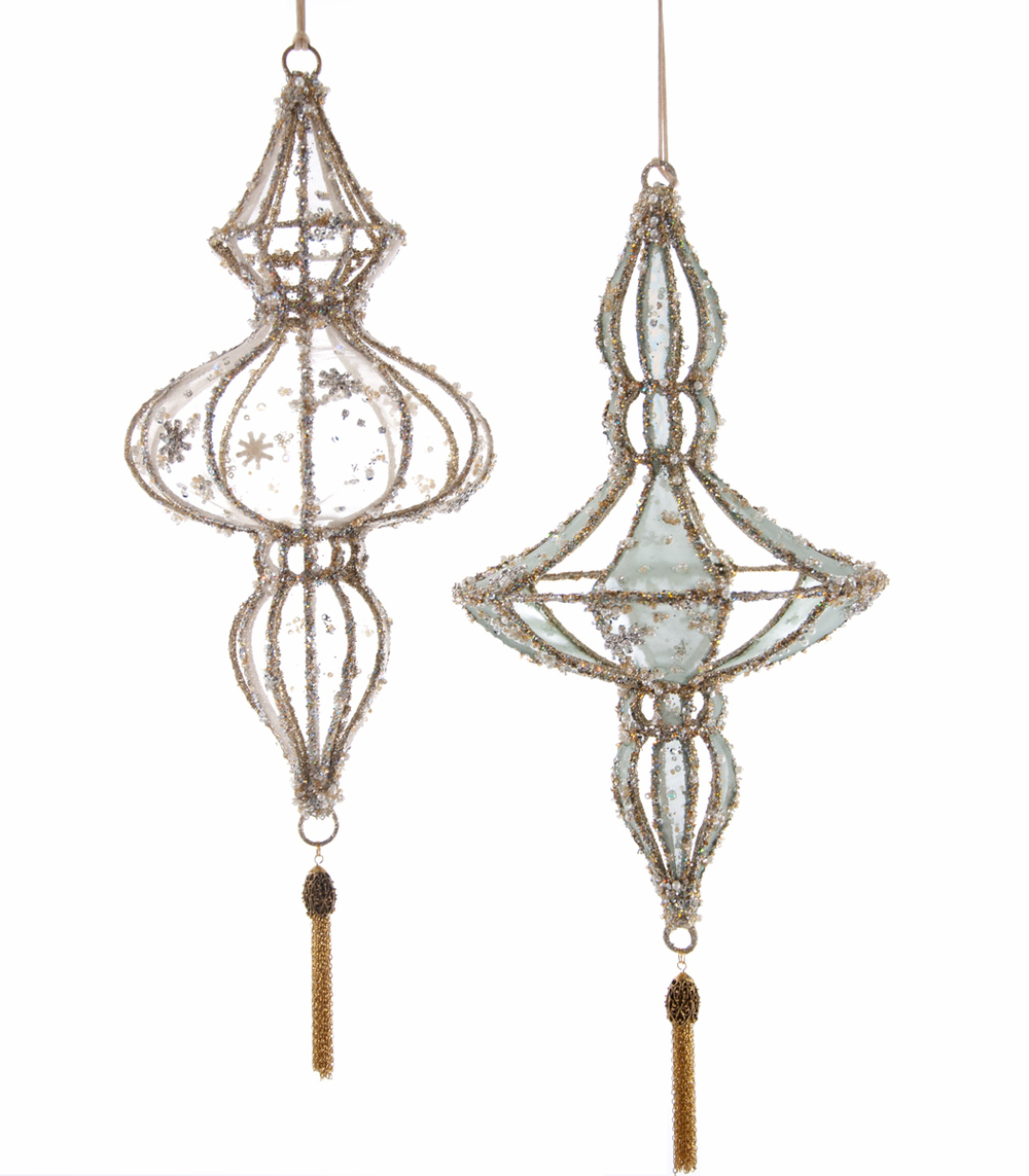 Wire Encrusted Ornament - Large - Assortment Of 2  28-628161
