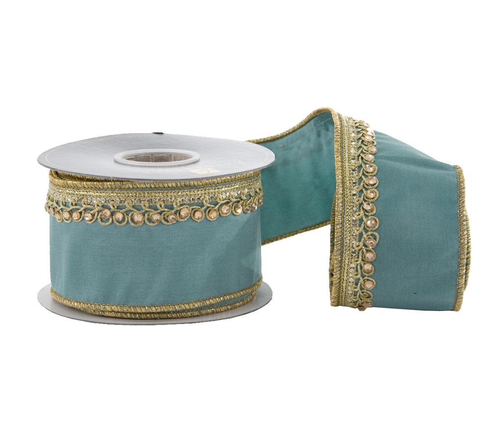 Khadi/Tissue/Jeweled Trim Edge Ribbon - 5 Yards  05-605039