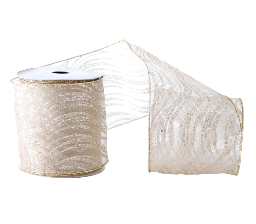 Glittered Swirl Sheer Ribbon  09-691001