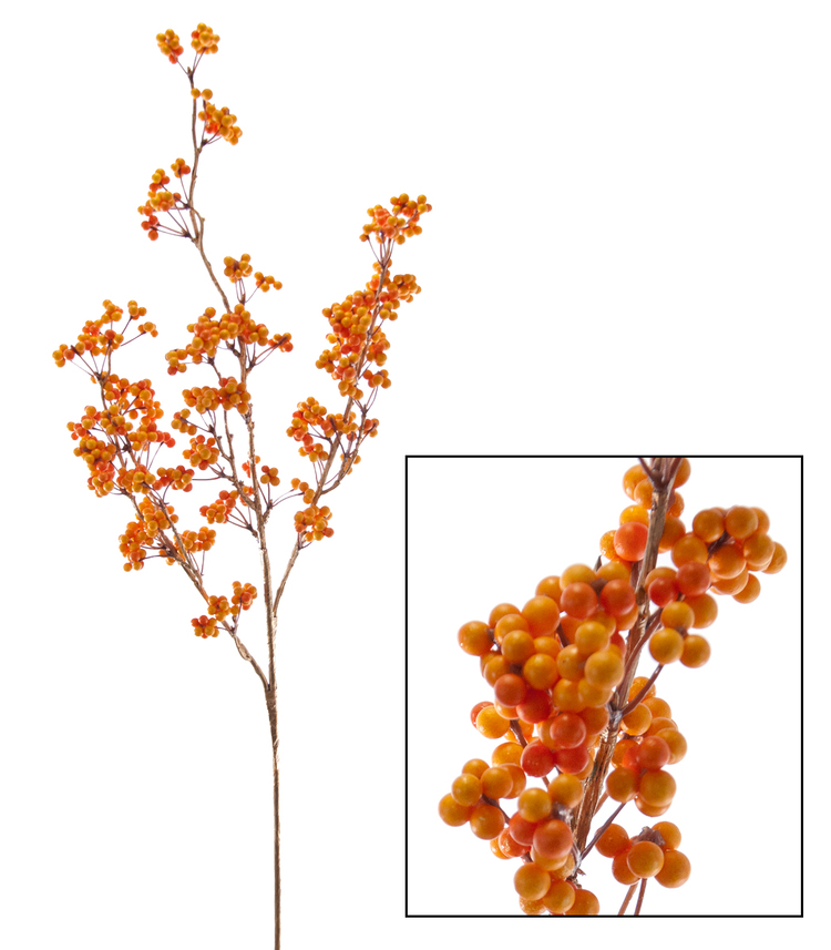 Orange Berry Branch Spray