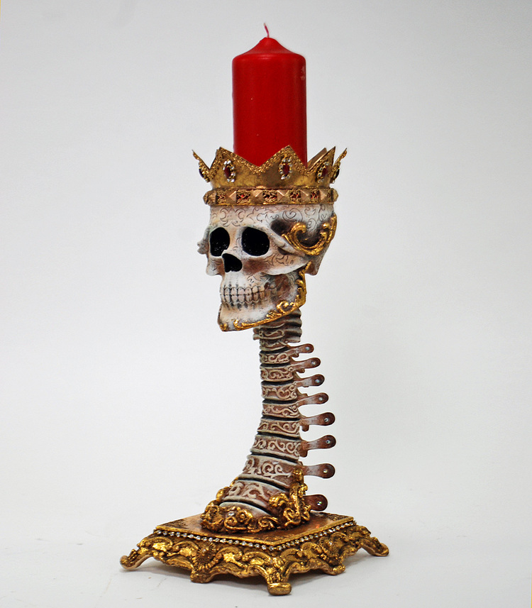 Gold Spine Pillar Candle Holder from Venetian Masquerade