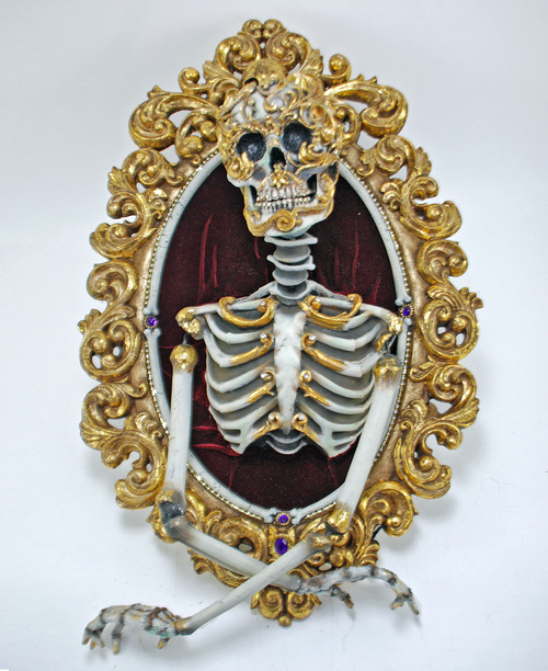 Gold Skeleton Framed Mirror from Venetian Masquerade