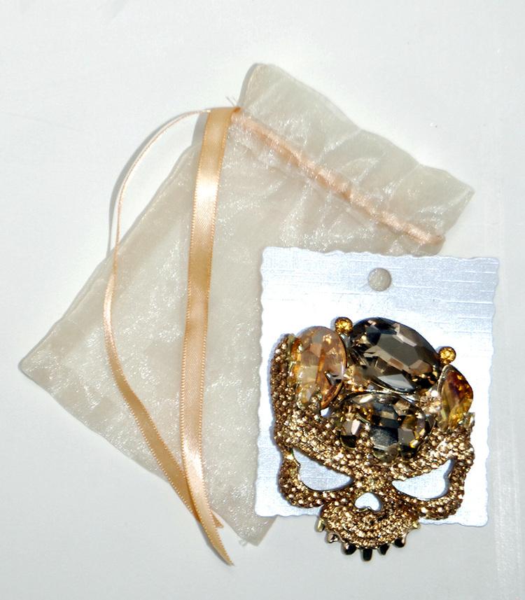 Rhinestone Skull Brooch from Venetian Masquerade