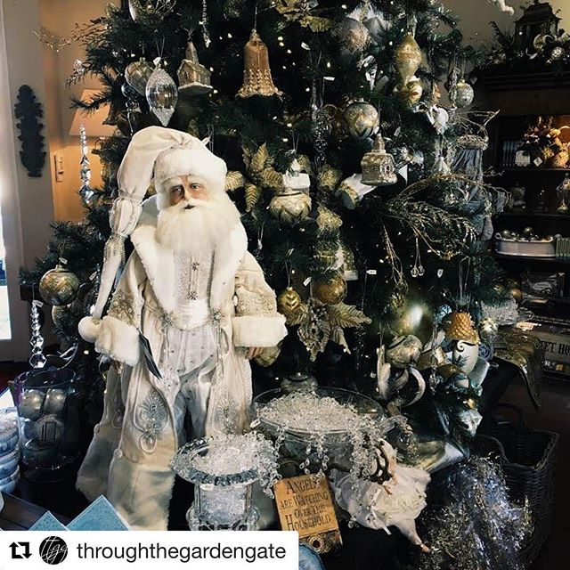 We're in the Christmas spirit year round at Katherine's Collection! @throughthegardengate is showing off our Azure Ice collection Snow Queen Santa doll