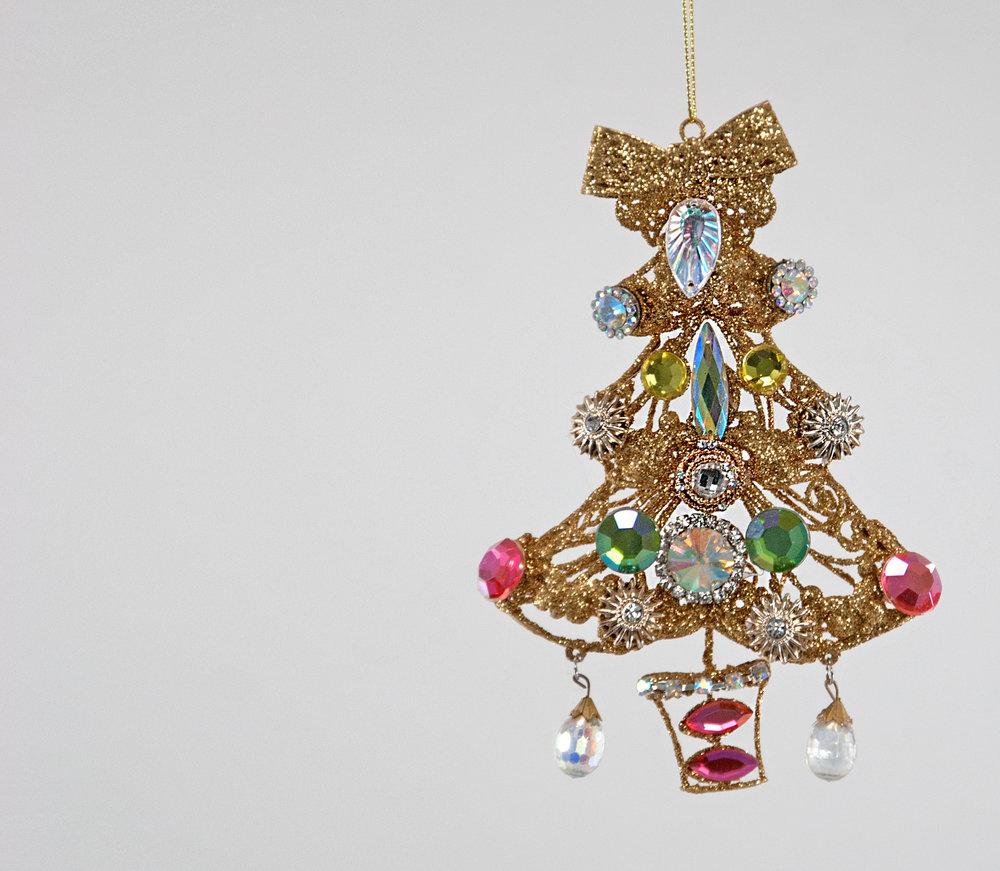 sweet wire jeweled christmas tree ornament - Jeweled Christmas Trees