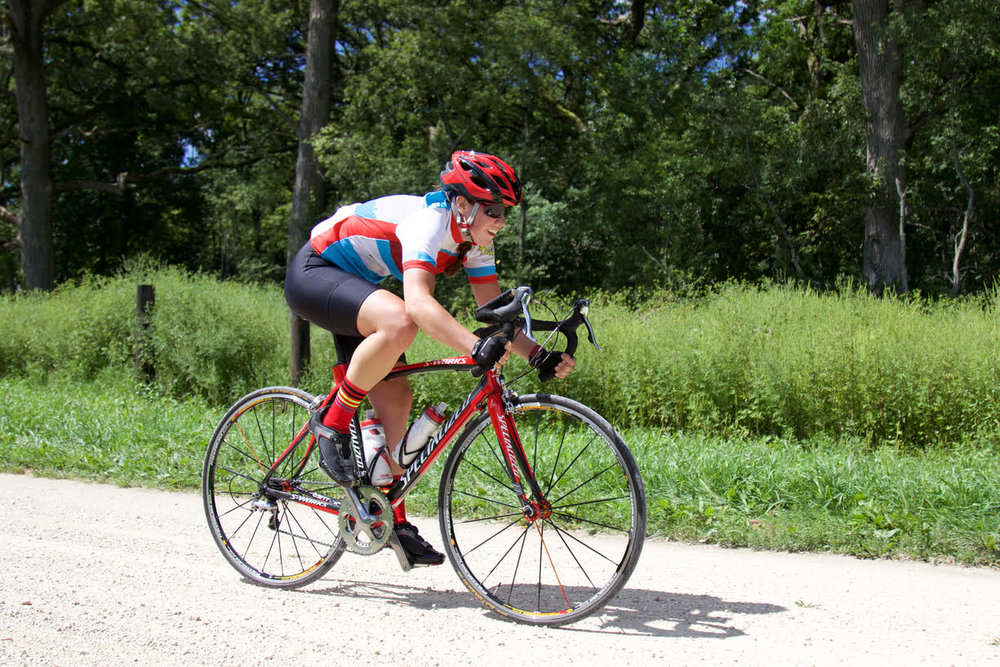 Here's me somehow remaining upright on one of the lovely gravel sections of the race.