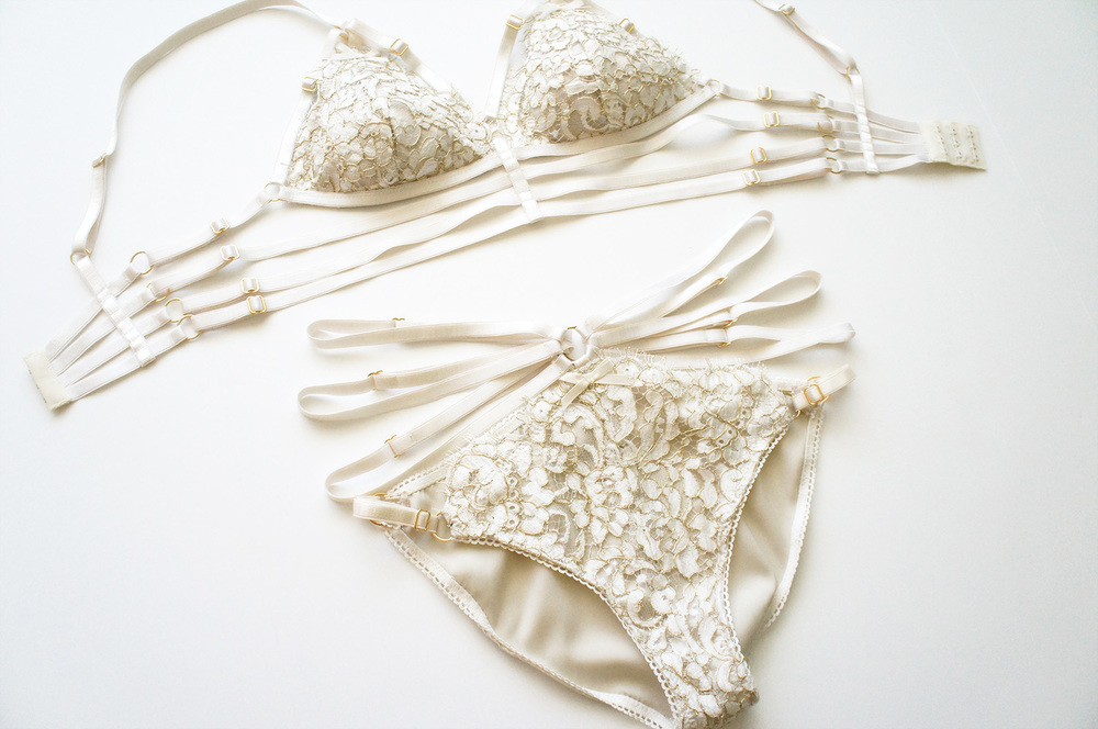 Gold and Ivory Alençon Lace Set