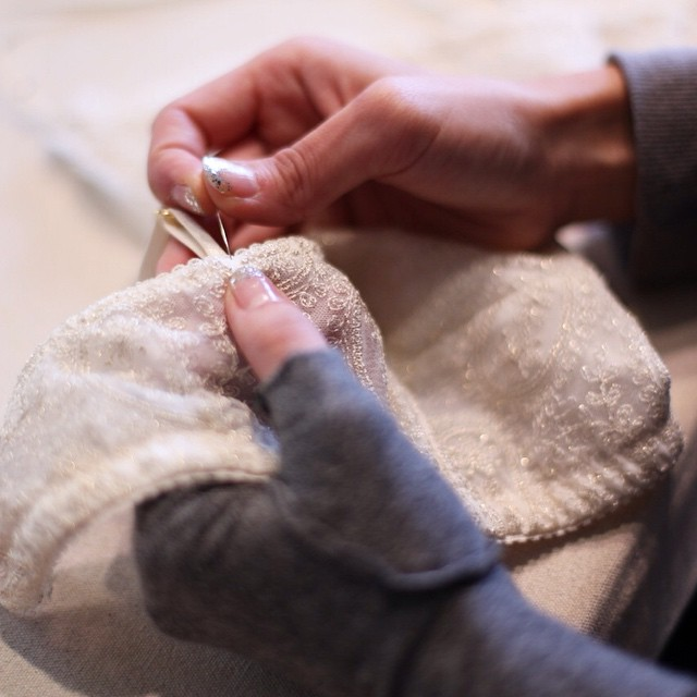 Adding the finishing touches🌟 Photo: @lovealanachan #details #textiles #handmade #sewing #bramaking #lingerie