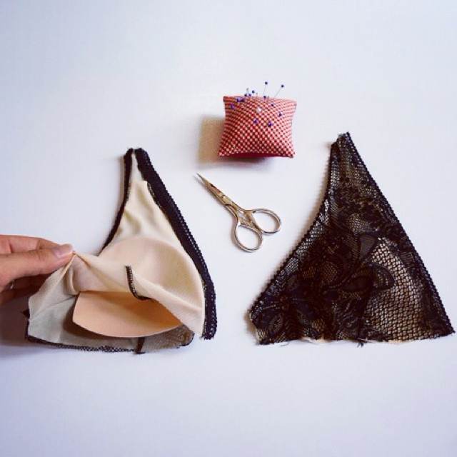 Inside a bra cup: Layer 1 - Outer shell fabric (lace) Layer 2 - Nude mesh lining so padding is concealed. Layer 3 - Thin bra cup padding for light support. Layer 4 - Inner mesh lining for a soft touch against the skin.