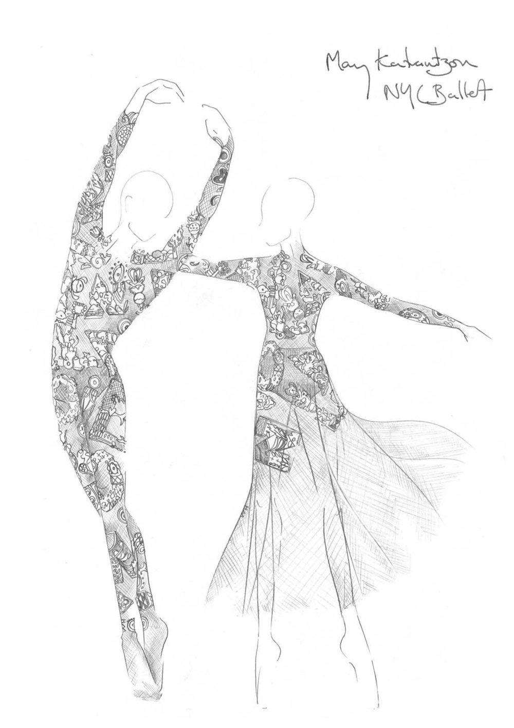 Mary Katrantzou for the New York City Ballet This year, Mary Katrantzou will create custom designed costumes for the New York City Ballet's Fall Gala opening night performance on September 23 alongside Carolina Herrera, Valentino Garavani, Thom Browne, and Alexander McQueen's Sarah Burton. Mary Katrantzou worked together with resident choreographer Justin Peck to create the ideas for the looks, which are inspired by her second Resort offering for Spring Summer 2015. In order to emphasize the dancers movement and physiques, Mary wanted to create something subtle and agile to evoke a certain emotion and mimic Justin's clean choreography. Her designs act as a second skin for the dancers. For the Prime Male dancer, Mary has created a lace bodysuit, while the Prima ballerina's costume exudes an ethereal air with an added translucent tulle skirt, the dancers will also wear pigmented undergarments for a touch of colour. Here, a sketch of the costumes portrays her delicate designs. via: marykatrantzou.com