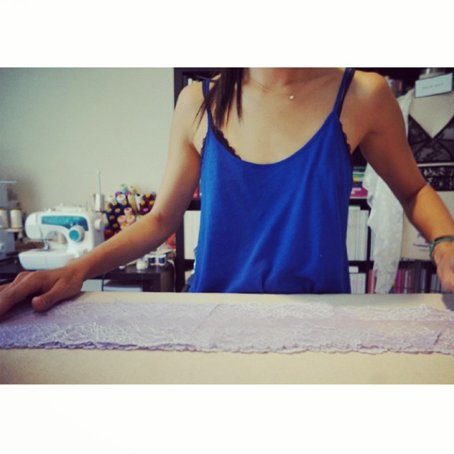 #WorkingOn: Cutting ✂✂✂ Step 1: Laying out the lace and marking and tracing the patterns.