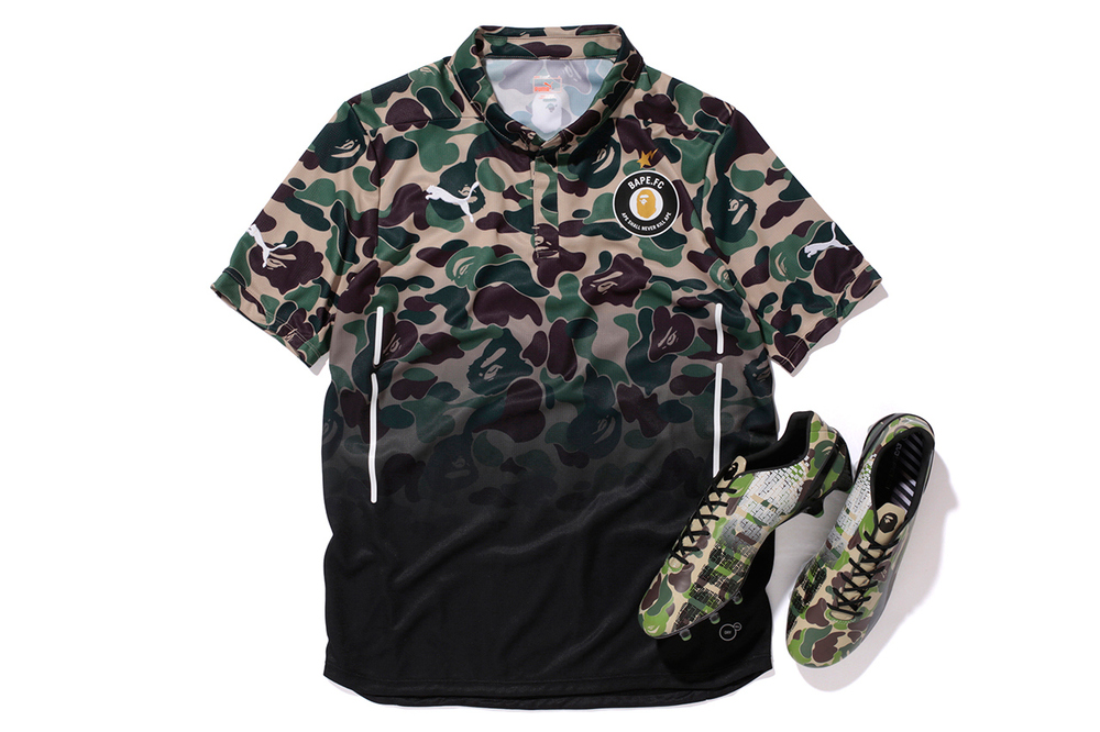 This is too cool! I love Bape, and I love soccer uniforms (I come from a uniforms design background), so this is one of the coolest fashion collaborations I've seen!     http://hypebeast.com/2014/7/a-bathing-ape-x-puma-evospeed-bape-f-c-collection#