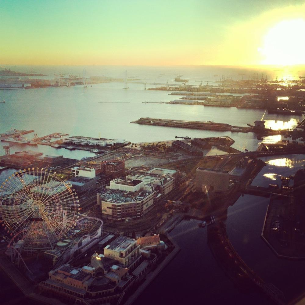 Sunrise over Yokohama bay.