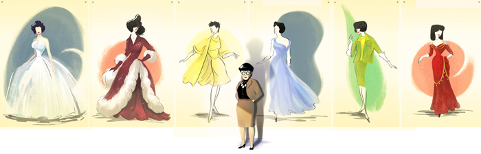 Edith Head's 116th Birthday - The most legendary costume designer of the 20th century. She was the woman to dress Audrey Hepburn for her Hollywood debut in the 1953 film Roman Holiday, and to this day she still holds the record of most oscars won by a woman with 8 to her name, and 35 nominations. Illustrations from left: Elizabeth Taylor's white appliquéd tulle gown from A Place in the Sun,Rosemary Clooney's fur trimmed gown for White Christmas,Natalie Wood's yellow final look dress from Sex and the Single Girl,Grace Kelly's blue gown from To Catch a Thief, Kim Novak's green wool suit from The Birds, and Jo Van Fleet's red saloon dress in Gunfight at the O.K. Corral.               image via Google Doodle