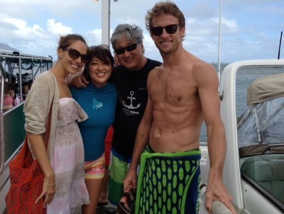 Look who my parents got to hang out with! Jenson Button and Jessica Michiba! Big thanks to Captain Bruce & Akiko for a great trip to the Sandbar just off the Kaneohe coast, massive Sea Turtles!!