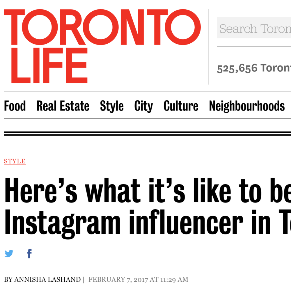 Toronto Life: What it's like to be an instagram influencer