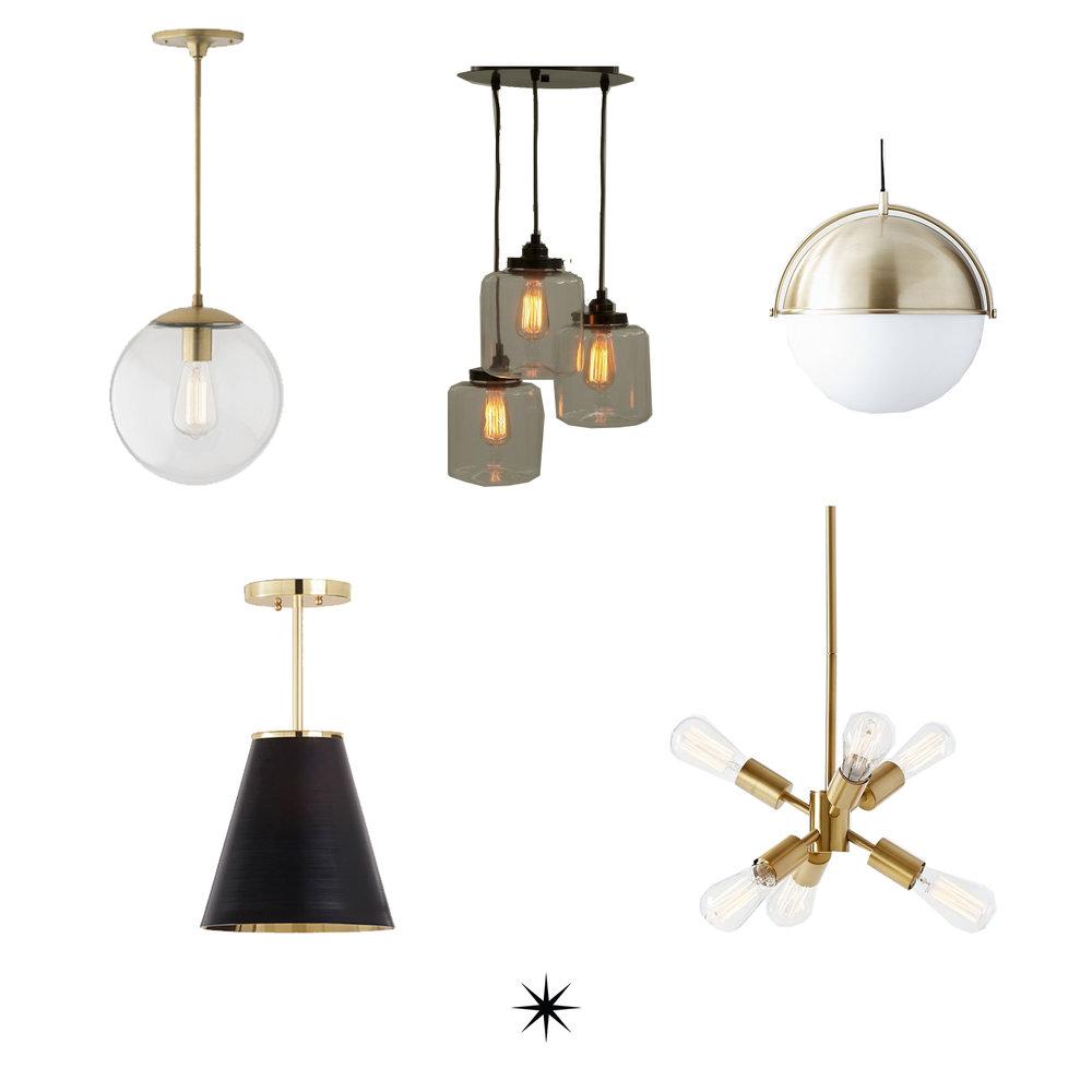 Clockwise from the top left:  Clear Globe  //  Three Jars  //  Half Brass  //  Mini Sputnik  //  Black Cone