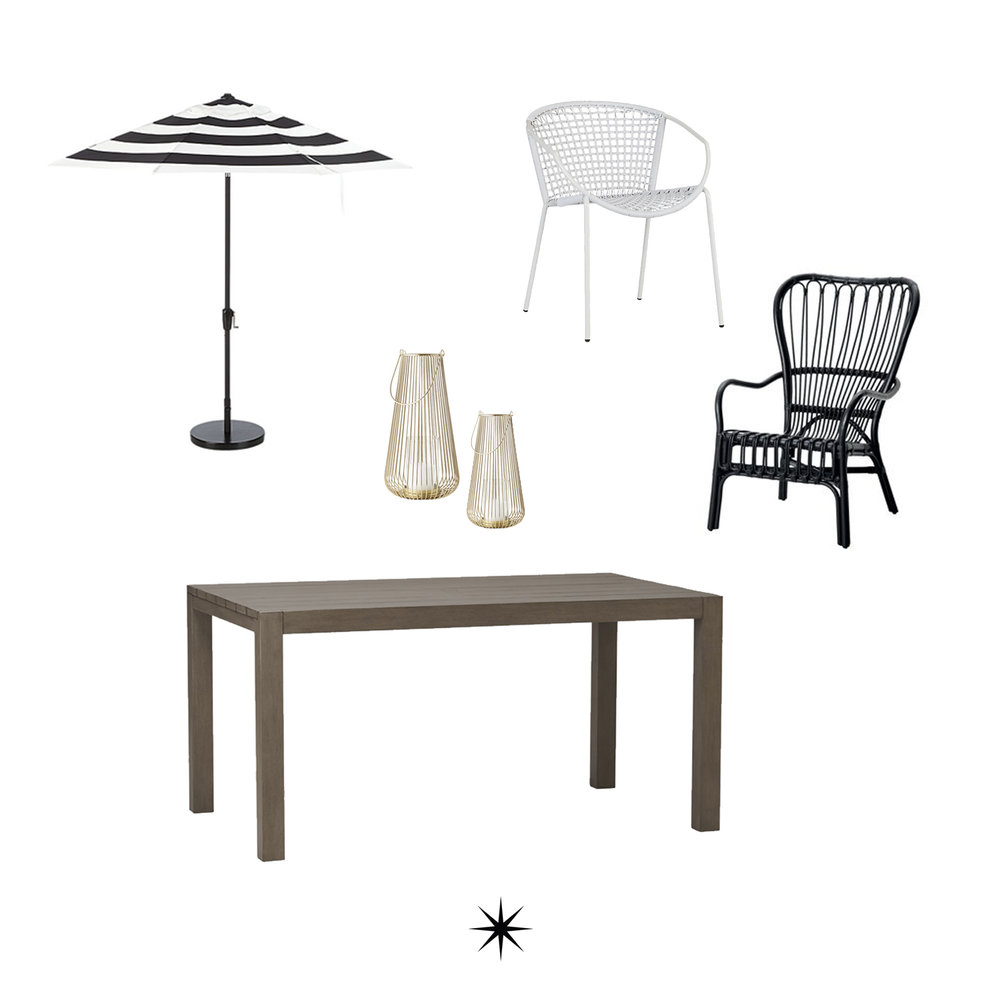 Umbrella // White Chair // Black Chair // Table // Votives