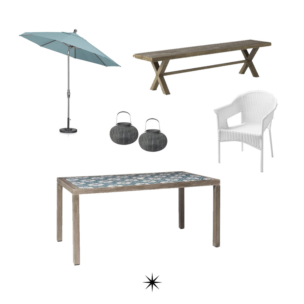 Umbrella // Bench //Chair // Table // Votives