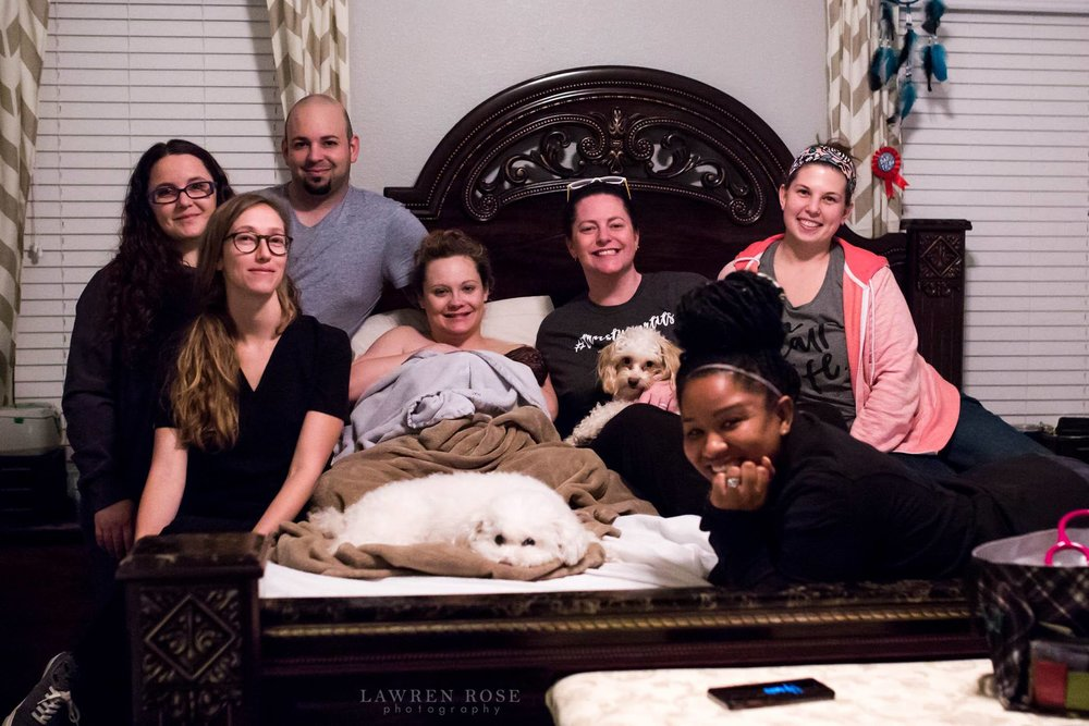 Our team; when we cared for this family for the second time! - PS: the mom in the photo is Heather…our insurance specialist!! Not only is she great at her job, but she also understands what it's like to be in the client's shoes.pictured: Midwife Teri Mitchell, Birth Assistant Laura Perkins, dad, insurance specialist & mom Heather, Doula Laura Fortner (North Dallas Doula Associates), Student Midwife Nikki Knowles, and Photographer Lawren (Lawren Rose Photography)