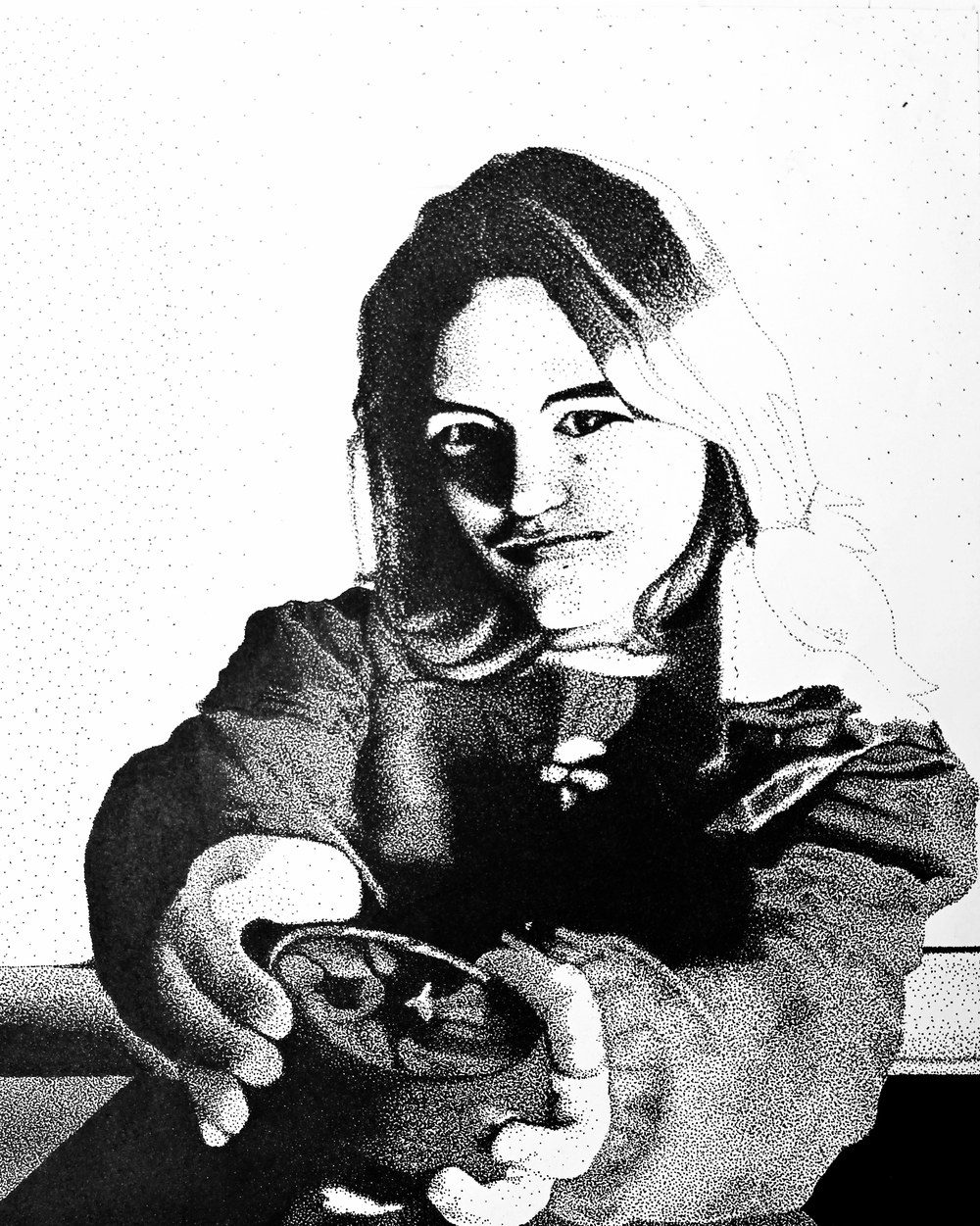 High school ink project, self portrait done in stippling, 1996