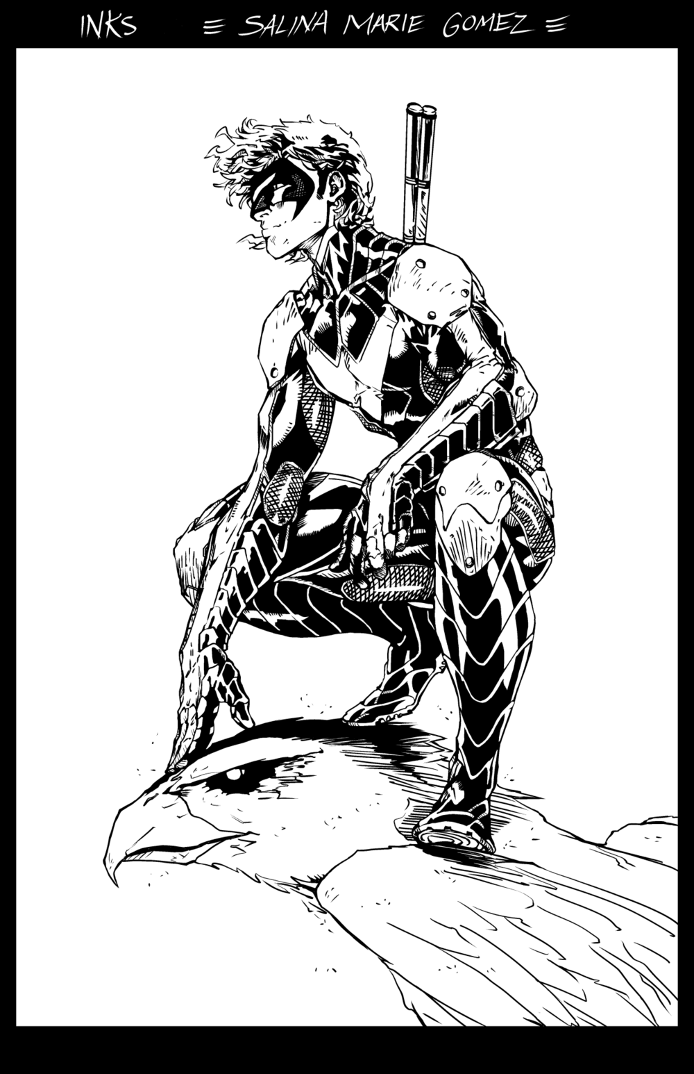 I digitally inked a Brett Booth piece (pencil) of Nightwing, for practice. I really liked working on his pencils, more so than the Paulo Siqueira pencils I did in September, because Booth's pencils have a fast quality to them, and they are a bit more loose than Siqueira's, which allows more room for interpretation on the inker's end.   When I have room to interpret pencils, I tend to be more engaged with the process and am able to work more magic on the piece than if the pencils were so tight that all I had to do was tediously trace them (which is not as fun but still rewarding in it's own right).